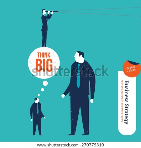 Small entrepreneur conquering a giant with big ideas. Vector illustration Eps10 file. Global colors. Text and Texture in separate layers. - stock vector