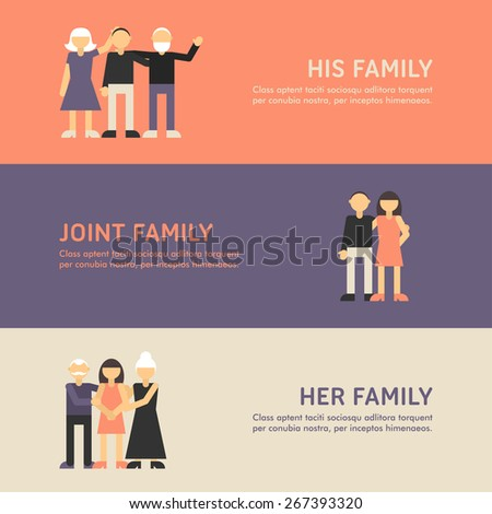 Small Family, Family and Big Family Walk. Flat Design Illustration Concept for Web Banners - stock vector