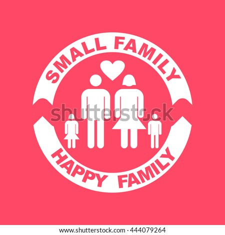 Small Family white icon on magenta color background. Eps-10. - stock vector