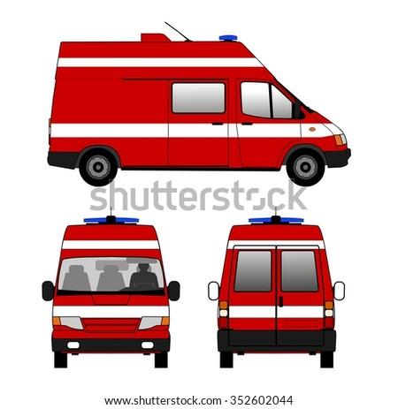 Small fire truck - stock vector