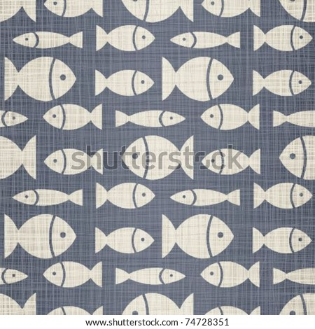 Small fishes on a jeans background - stock vector