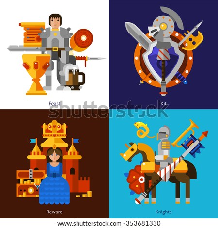Small flat 2x2 banners with feast reward knights and kit of medieval weapons vector illustration - stock vector