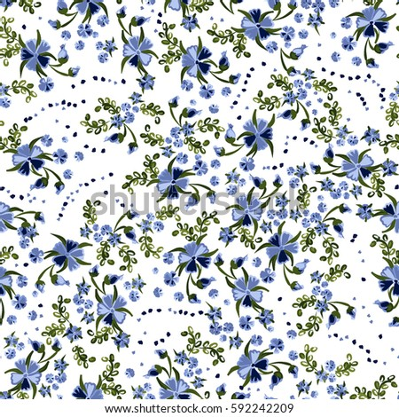 Small Flowers Seamless Retro Pattern In Country Style Floral White Background With Feminine Romantic