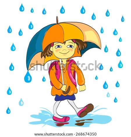 Small girl with umbrella under rain - stock vector