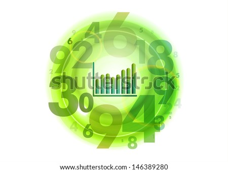 small graph in the middle of numbers circle - stock vector