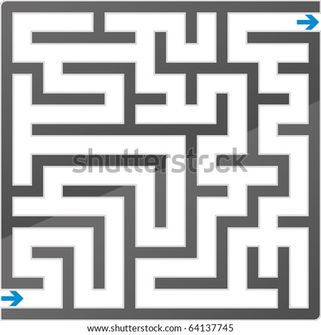 Small gray maze. Vector illustration. - stock vector