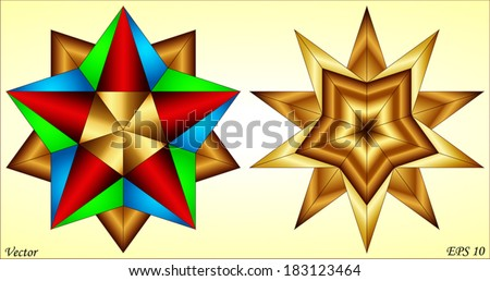 Small - Great Stellated Dodecahedron - stock vector