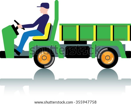 Small green utility truck - stock vector