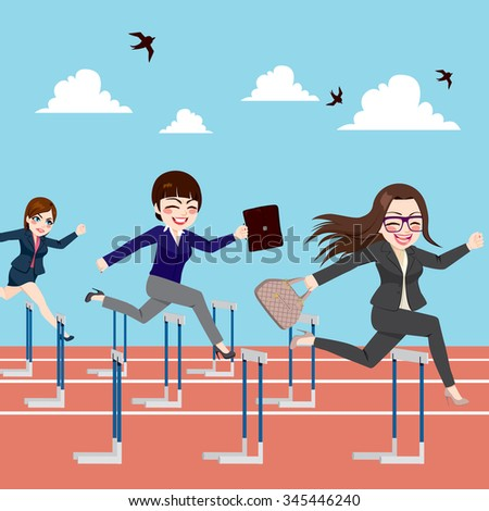 Small group of businesswomen competition concept jumping hurdles on business competitive career - stock vector