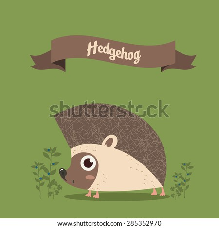 small hedgehog on a green background - stock vector