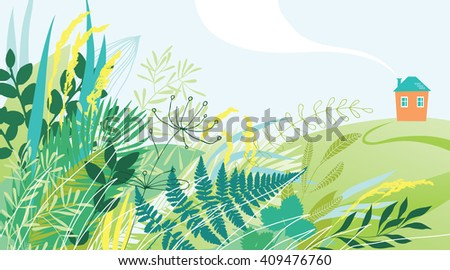 Small house in the meadow - stock vector