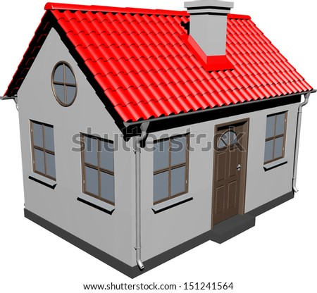 Small house with red roof. EPS 10 vector format - stock vector