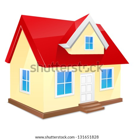Small house with red roof. Isolated on a white background