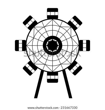 Small isolated ferris wheel silhouette graphic. black and white illustration of attraktsion in amusement park  - stock vector