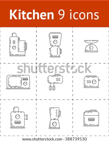 Small kitchen appliances. Vector set of 9 outline icons