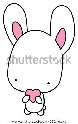 Small lovely white rabbit holds a heart. - stock vector