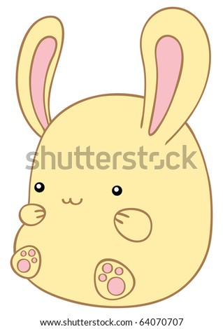 Small lovely yellow rabbit. - stock vector
