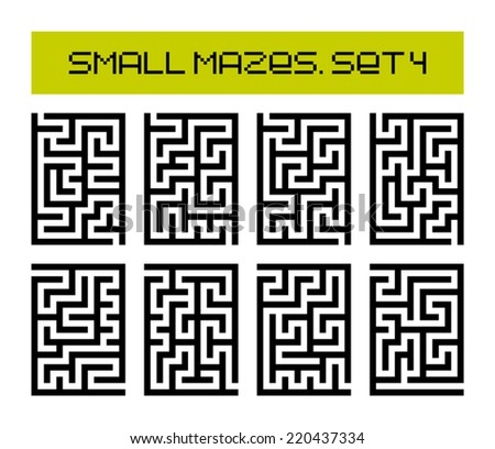 small mazes set 4 - stock vector