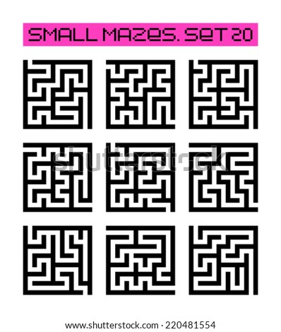 small mazes set 20 - stock vector
