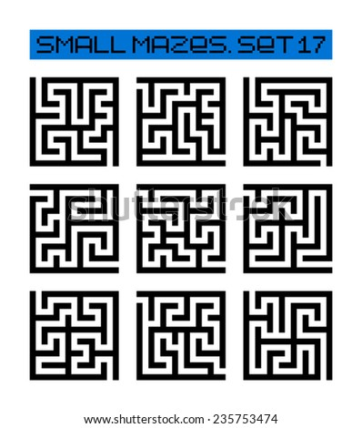 small mazes set 17 - stock vector