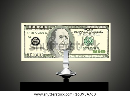 Small office desk stand with 100 american dollar banknote  - stock vector