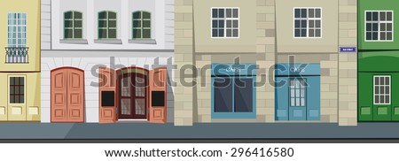 Small panorama street in the historic town - vector illustration