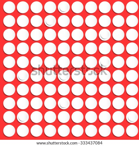 Small paper white circles pattern on red background. Vector illustration. - stock vector