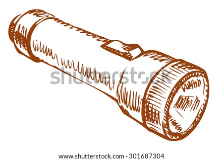 Small pocket torch with battery and switch isolated on white background. Vector linear freehand ink drawn backdrop sketchy in art scrawl style pen on paper. View close-up with space for text - stock vector