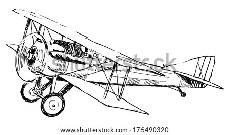 Small propeller airplane drawing on white background  - stock vector