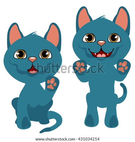 Small purebred blue kitten wants to play. Vector illustration.