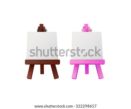 small purple and wooden easels with canvas