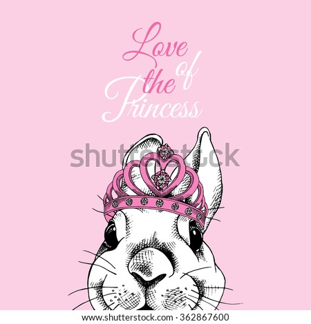 Small rabbit with a crown on pink background. Vector illustration.