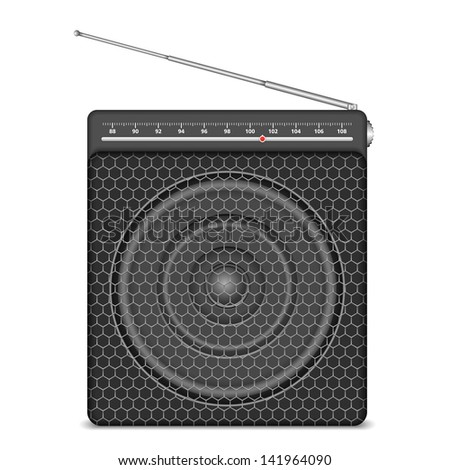 Small radio on white background, vector eps10 illustration - stock vector