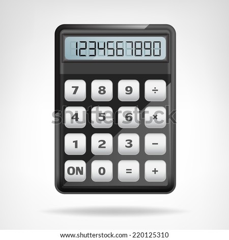 small round black calculator object isolated vector illustration - stock vector