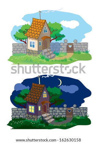 Small rural house and landscape (day and night)