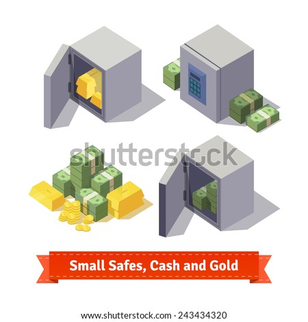 Small safes with gold bars, cash and coins. Flat style illustration.  - stock vector