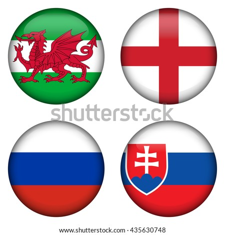 Small set of circle shaped flags. Russia, England, Wales, Slovakia