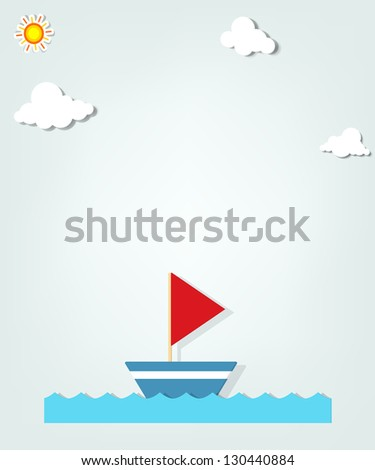 small ship - stock vector
