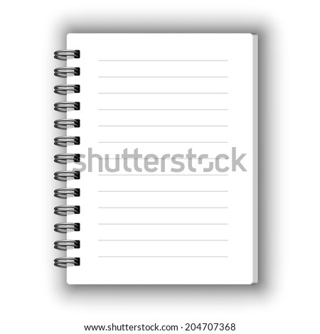 Small spiral vector blank notebook isolated on white