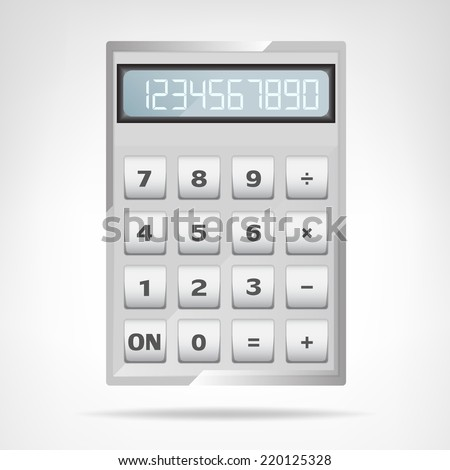 small square metallic calculator object isolated vector illustration