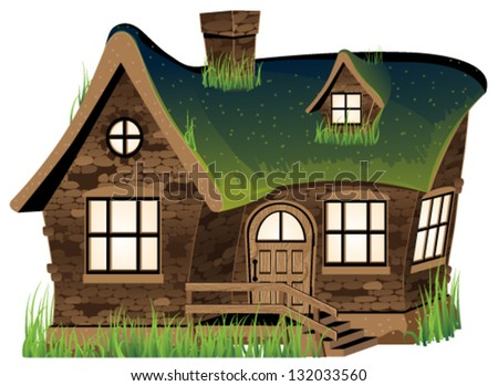 Small Stone House On White Background