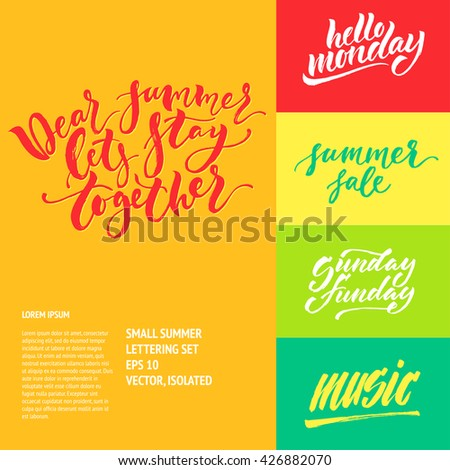Small summer handdrawn lettering set. Modern calligraphy. Ink illustration. Design for banner, poster, card, invitation, flyer, brochure, t-shirt. Isolated on textured color abstract background