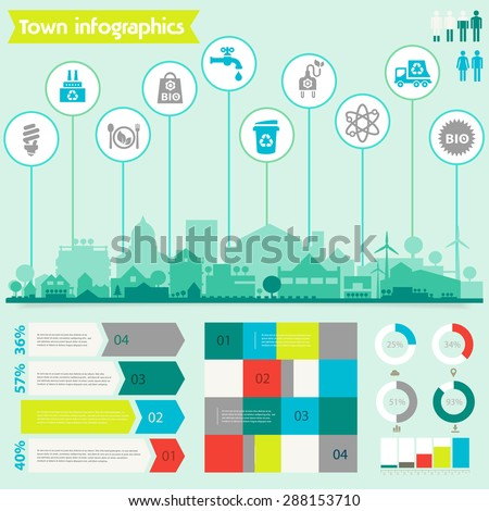 Small town and village infographics - stock vector