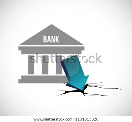 Small Town Bank depression Illustration. Vector Illustration. isolated over a white background