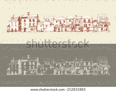 small town buildings facade arranged in line, hand drawn illustration