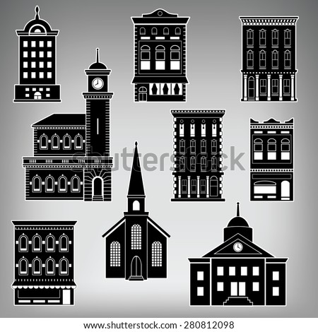 Small Town Main Street Buildings on a Plain Background - stock vector