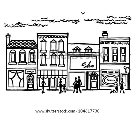 Small Town Main Street - Retro Clipart Illustration - stock vector