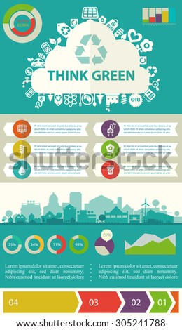 """Small town or village ecological illustration """"Think green!"""" with infographics elements - stock vector"""