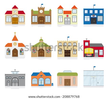 Small Town Public Building Icons Vector Illustration. Variety of public building and institutions symbols. Flat design, no gradients - stock vector