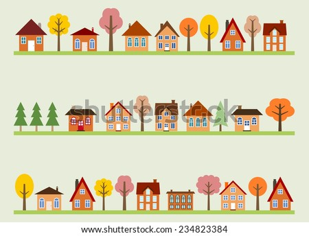 Small town street view with cartoon homes and autumn trees. European village street. - stock vector